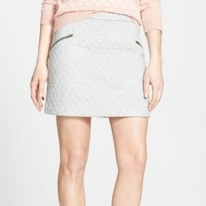 Hinge quilted moto 100% cotton gray miniskirt XS